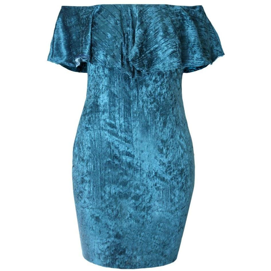 Off Shoulder Ruffle Dress, Teal Crush Velvet