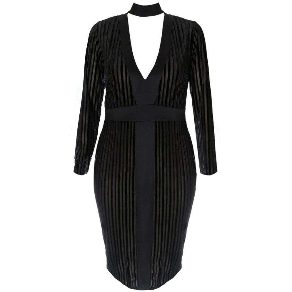 Plus Size Velvet Stripe Choker Midi Dress