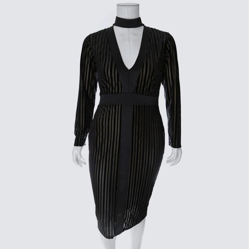 Posh Shoppe: Plus Size Velvet Stripe Choker Midi Dress Dress