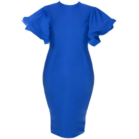 Structured Flutter Sleeve Midi Dress, Cobalt