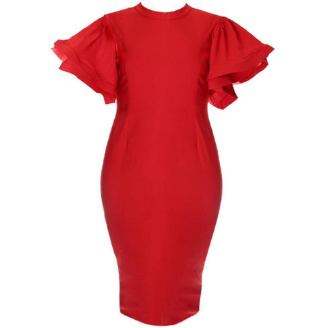 Plus Size Bardot Puff Sleeve Dress, Sateen Red