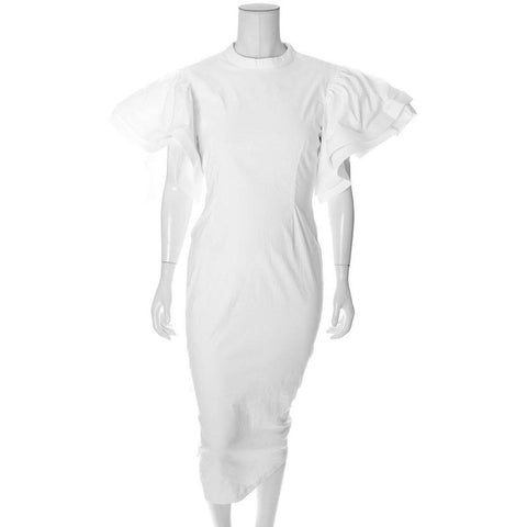 Structured Flutter Sleeve Midi Dress, White