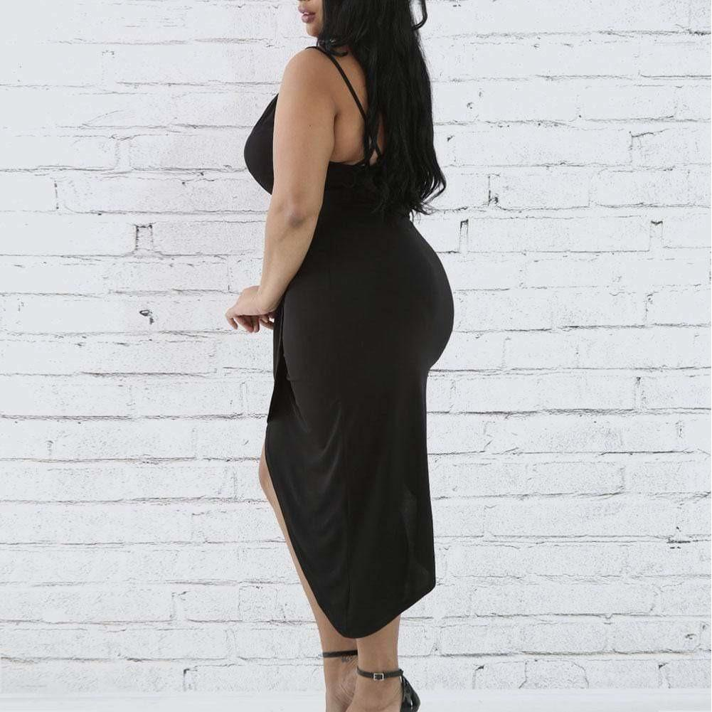 Plus Size Wrap Slip Dress With Drop Choker Black Posh Shoppe