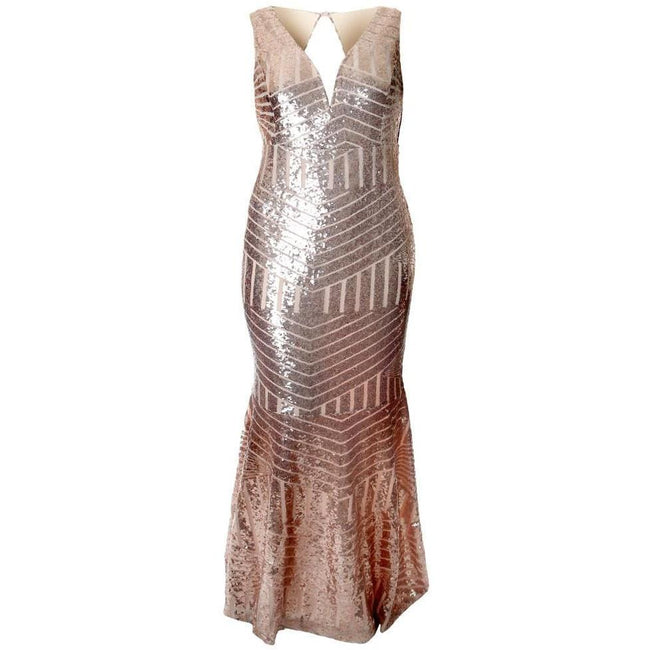 Posh Shoppe: Plus Size Art Deco Sequins Maxi, Rose Gold Dress