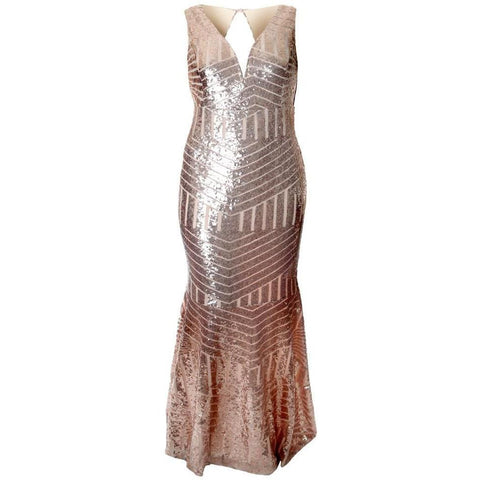 Plus Size Art Deco Sequins Maxi, Rose Gold