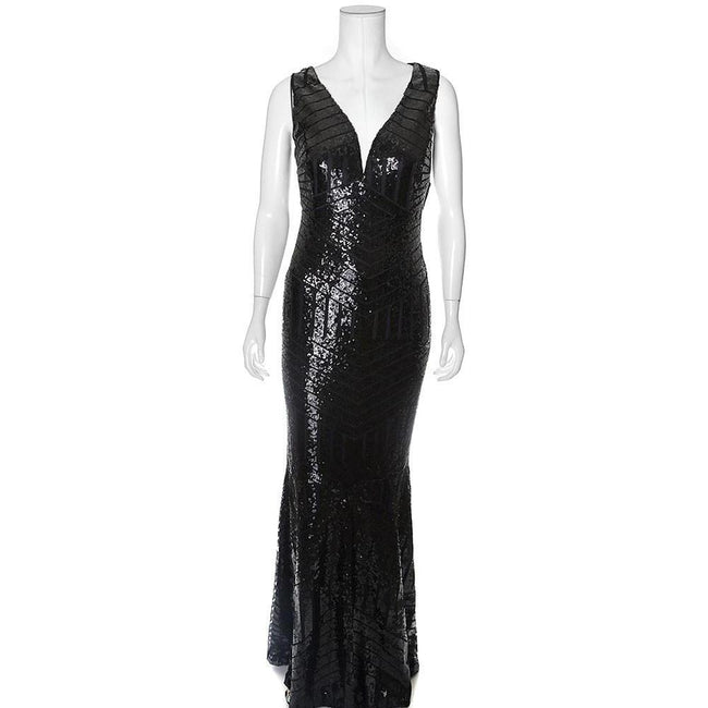Posh Shoppe: Plus Size Art Deco Sequins Maxi, Black Dress