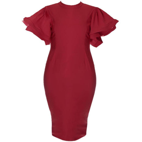 Structured Flutter Sleeve Midi Dress, Burgundy