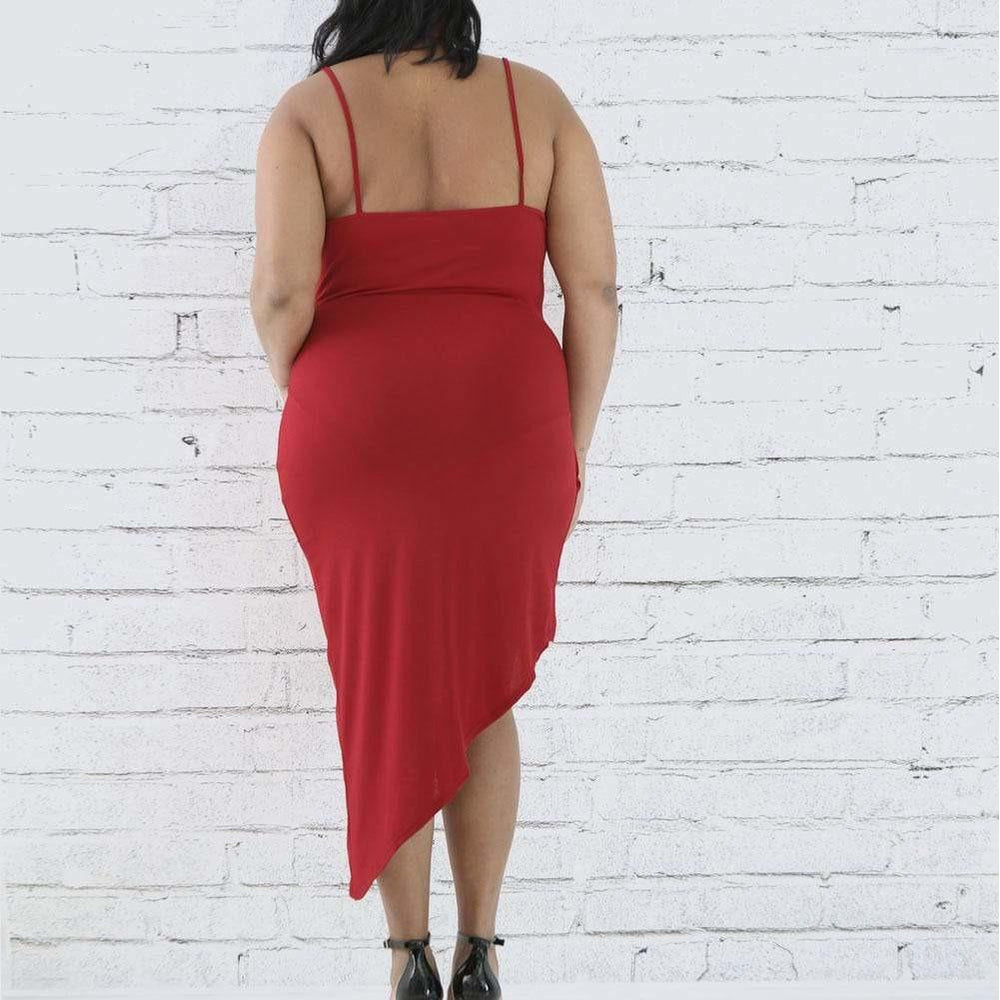 Posh Shoppe: Plus Size Wrap Slip Dress with Drop Choker, Red Dress