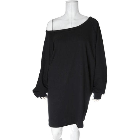 Sporty Off Shoulder Terry Dress, Black