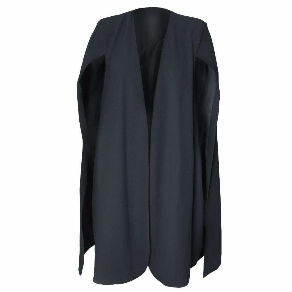 Plus Size Suiting Cape Blazer, Black