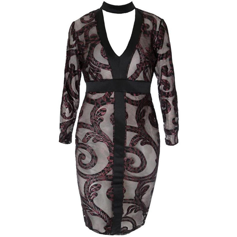 Posh Shoppe: Plus Size Paisley Burnout Choker Midi Dress Dress