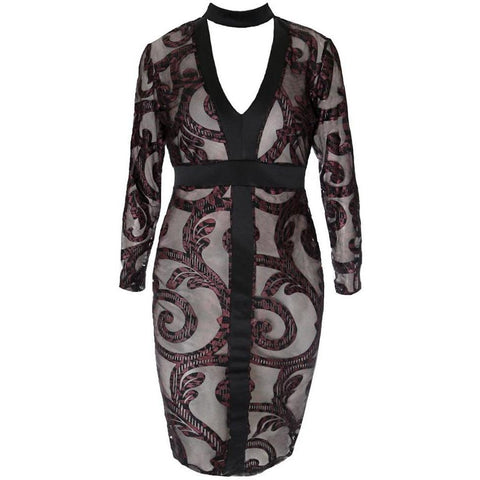 Paisley Burnout Choker Midi Dress