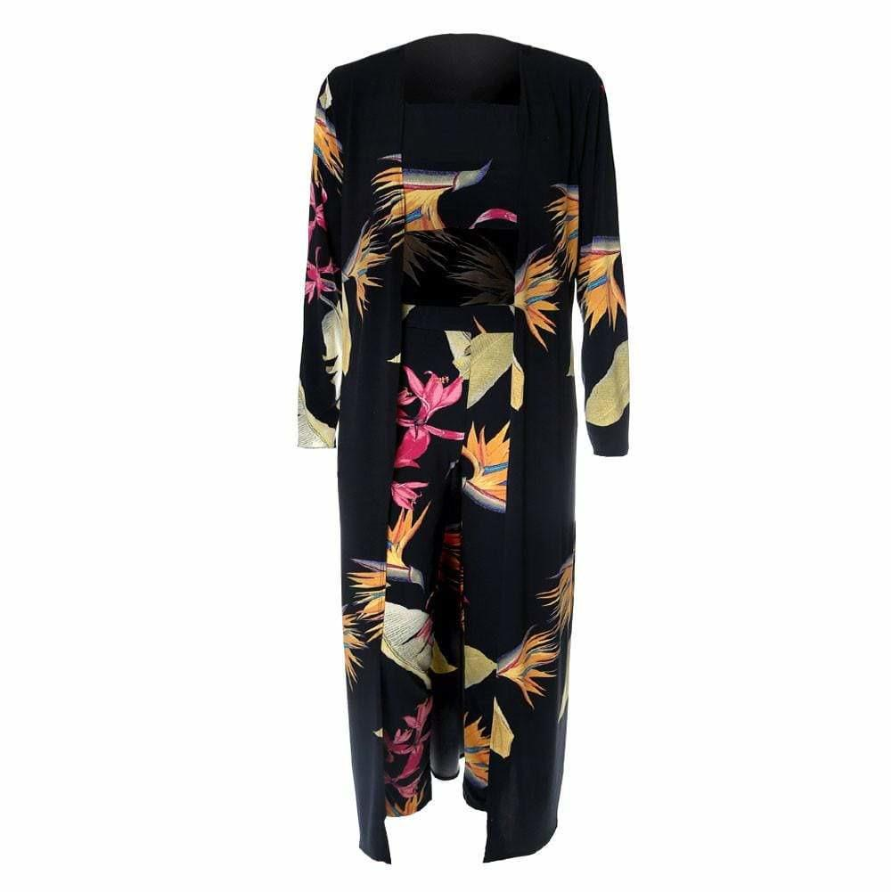 Plus Size Birds of Paradise Robe, Cropped Top & Pants Set