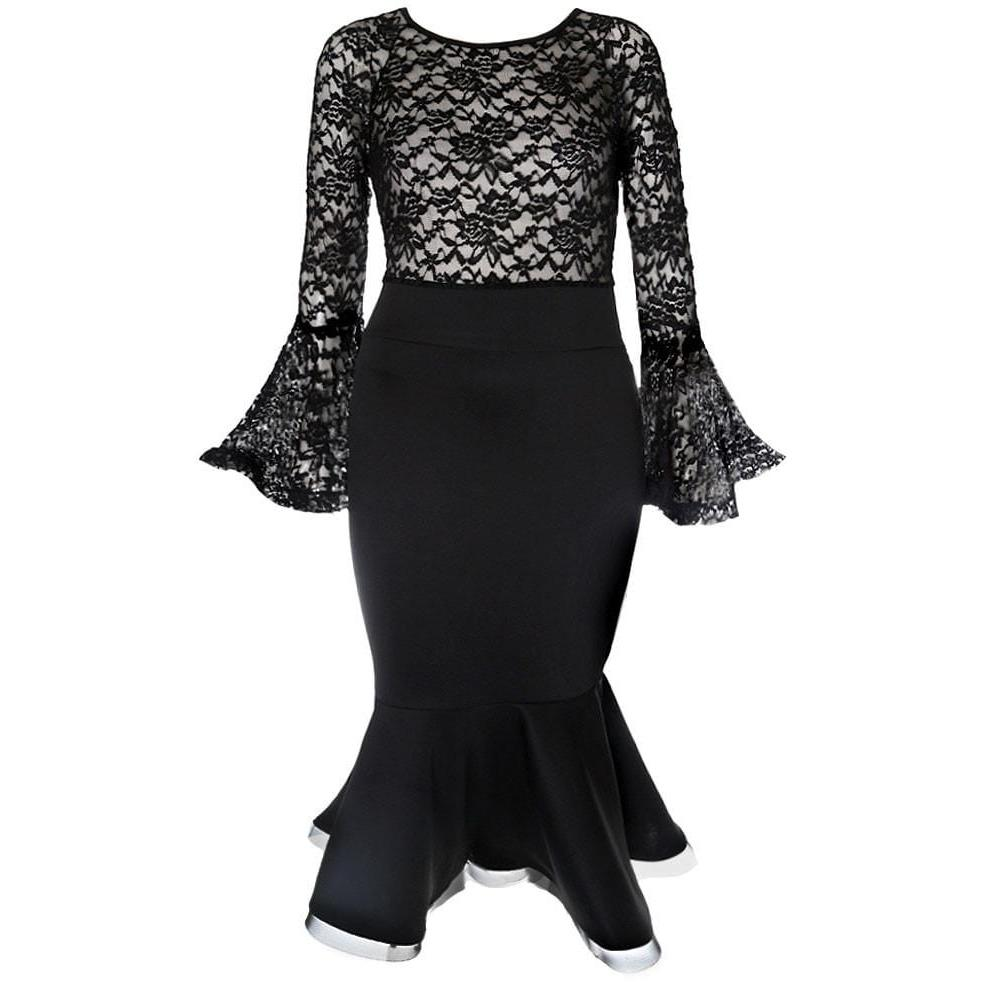 Posh Shoppe: Plus Size Bell Sleeve Sheer Lace Top Mermaid Dress Dress