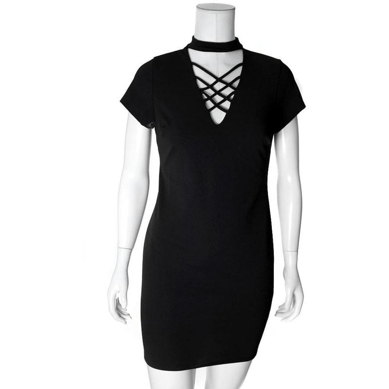 Posh Shoppe: Plus Size Lace Up Choker Mini Dress, Black Dress