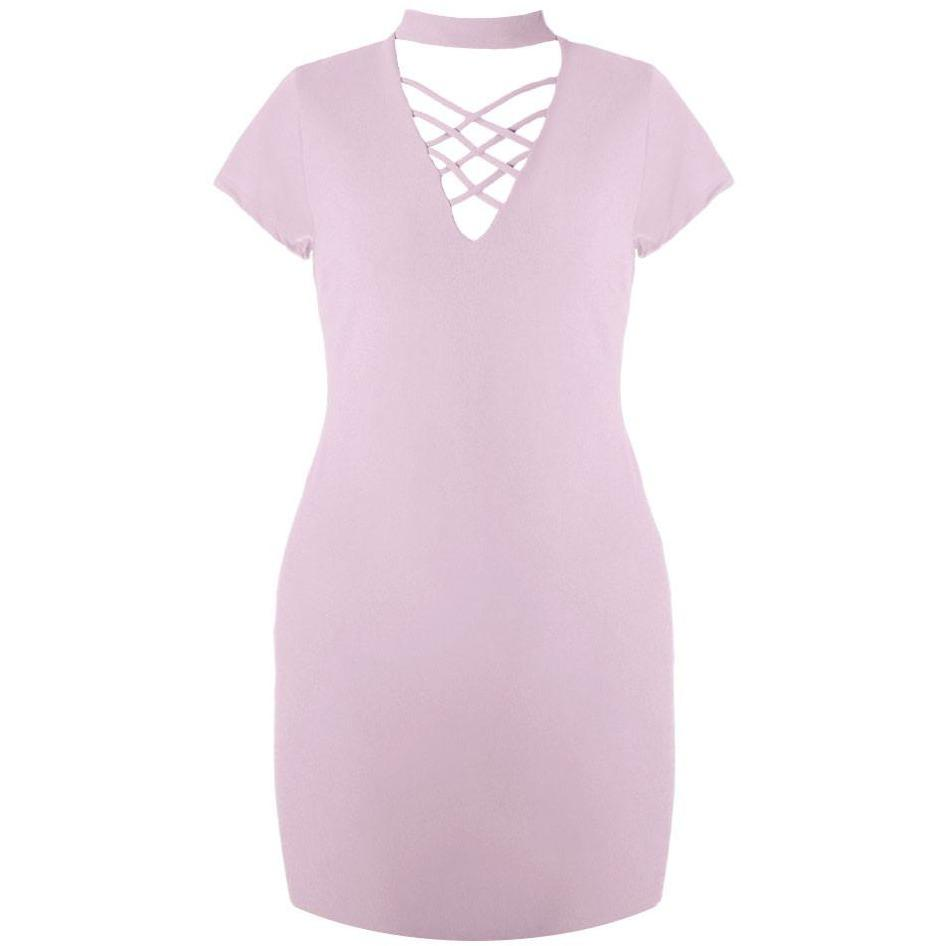 Posh Shoppe: Plus Size Lace Up Choker Mini Dress, Mauve Dress