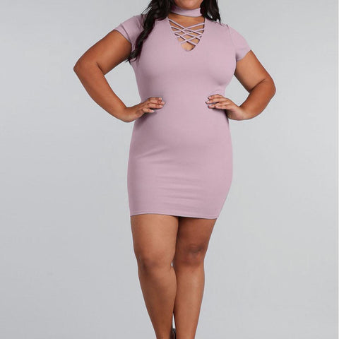 Plus Size Lace Up Choker Mini Dress, Mauve