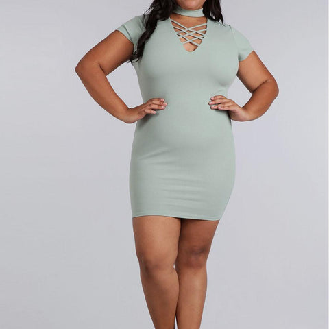 Plus Size Lace Up Choker Mini Dress, Mint