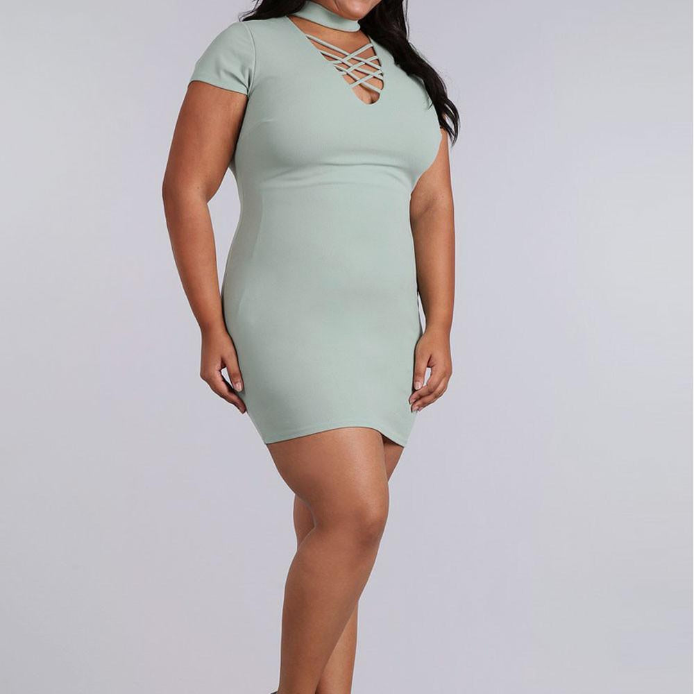 Posh Shoppe: Plus Size Lace Up Choker Mini Dress, Mint Dress