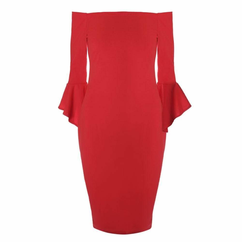 Plus Size Bell Sleeve Off Shoulder Midi Dress, Red
