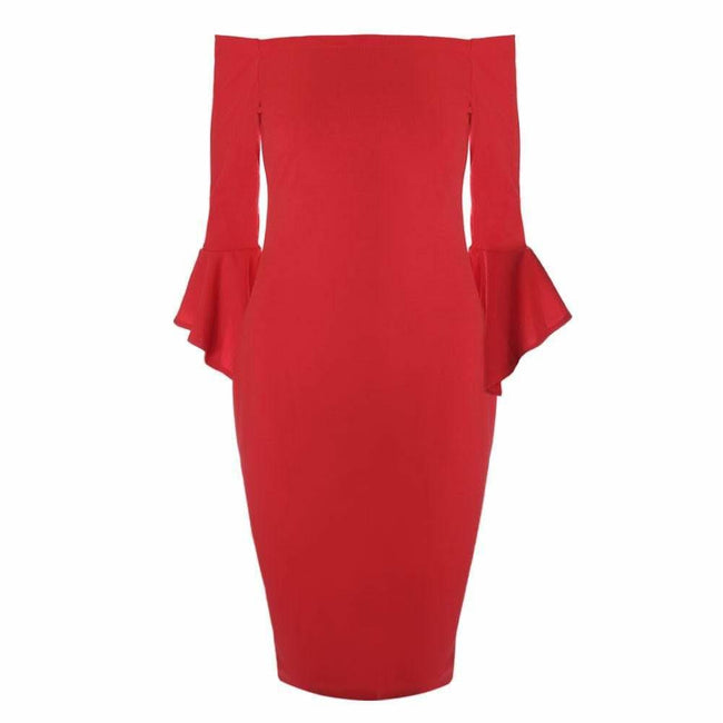 Posh Shoppe: Plus Size Bell Sleeve Off Shoulder Midi Dress, Red Dress