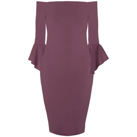 Plus Size Bell Sleeve Off Shoulder Midi Dress, Mauve