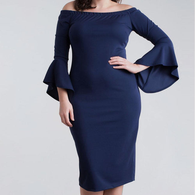 Posh Shoppe: Plus Size Bell Sleeve Off Shoulder Midi Dress, Navy Dress