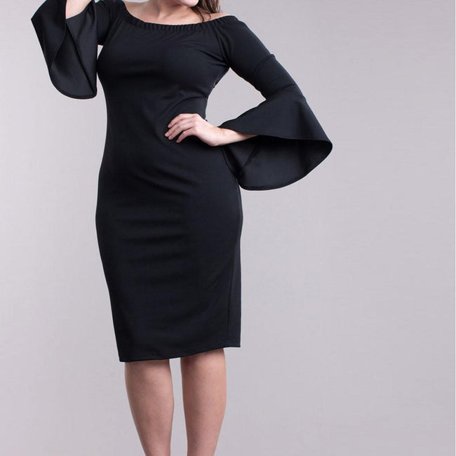 Posh Shoppe: Plus Size Bell Sleeve Off Shoulder Midi Dress, Black Dress