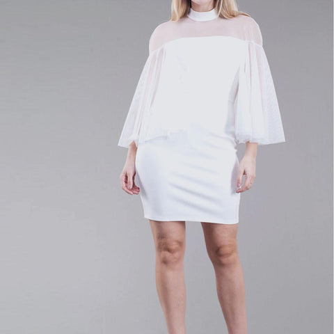 Plus Size Tulle Caped Mini Dress, Ivory