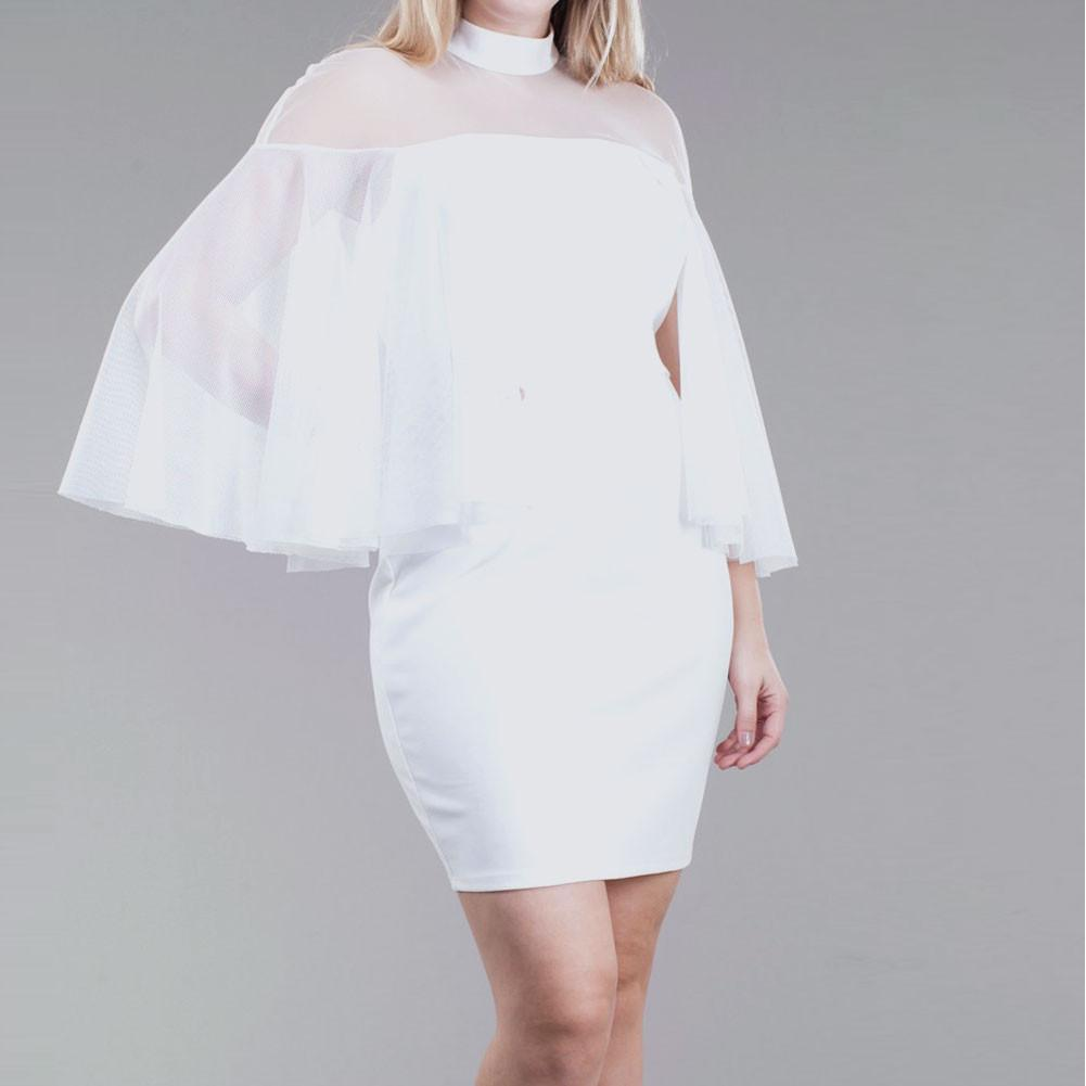 Posh Shoppe: Plus Size Tulle Caped Mini Dress, Ivory Dress