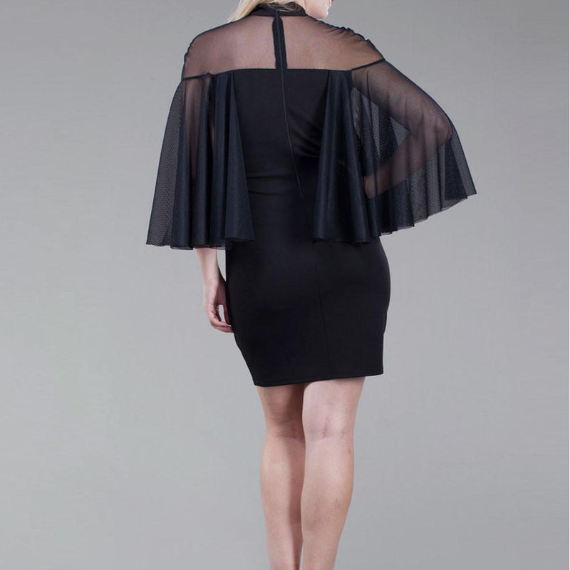 Posh Shoppe: Plus Size Tulle Caped Mini Dress, Black Dress
