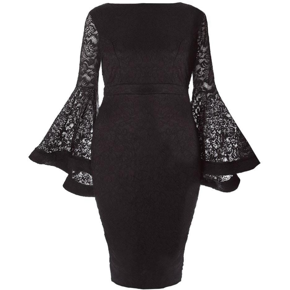 Plus Size Lace Bell Sleeve Midi Dress, Black
