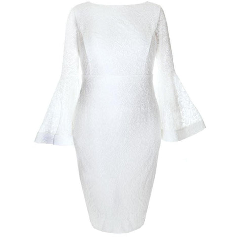 Plus Size Lace Bell Sleeve Midi Dress, Ivory