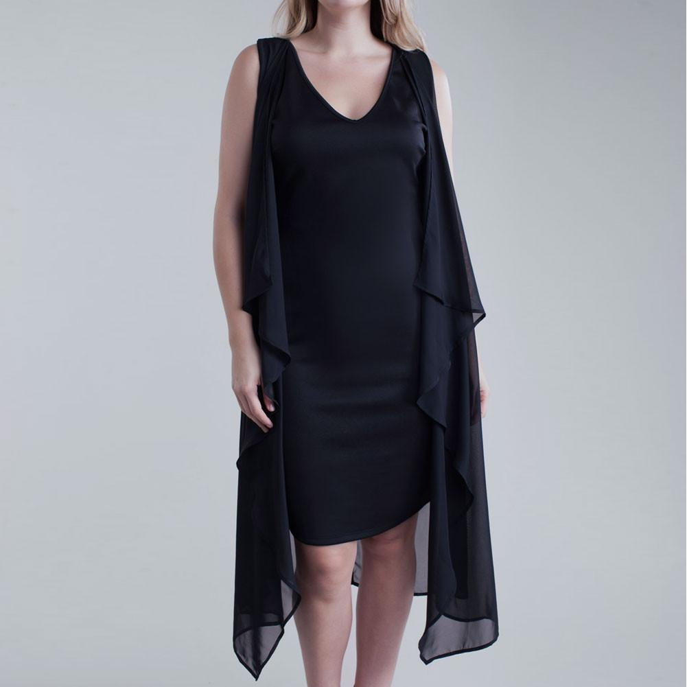 Posh Shoppe: Plus Size Sheer Butterfly Dress, Black Dress