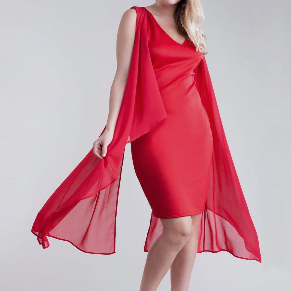 Posh Shoppe: Plus Size Sheer Butterfly Dress, Red Dress