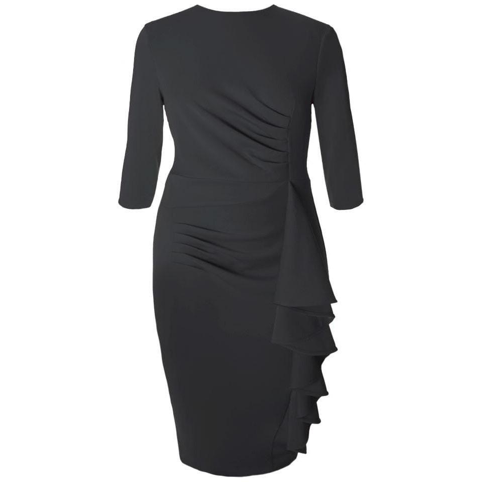 Plus Size Waterfall Dress, Black
