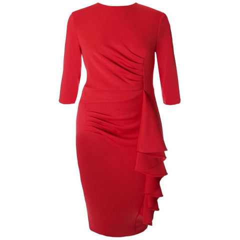 Plus Size Waterfall Dress, Red