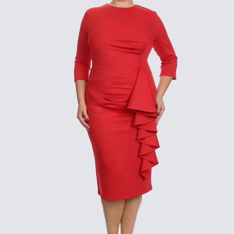 Posh Shoppe: Plus Size Waterfall Dress, Red Dress