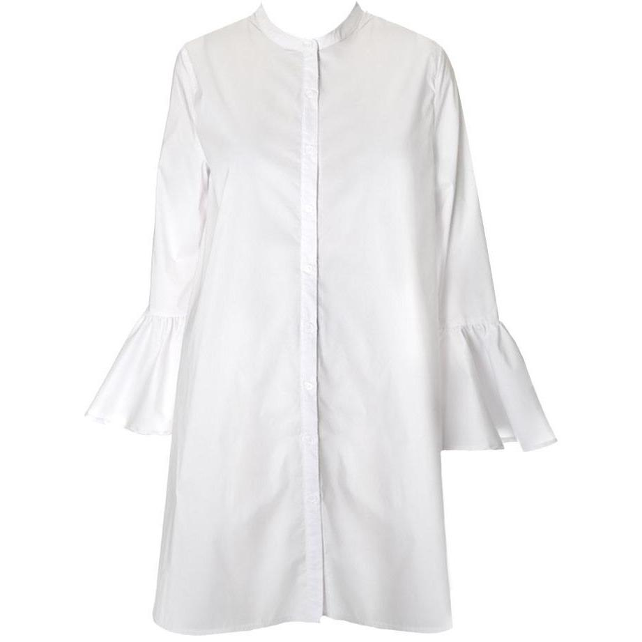 Plus Size Bell Sleeve Cotton Shirt Dress