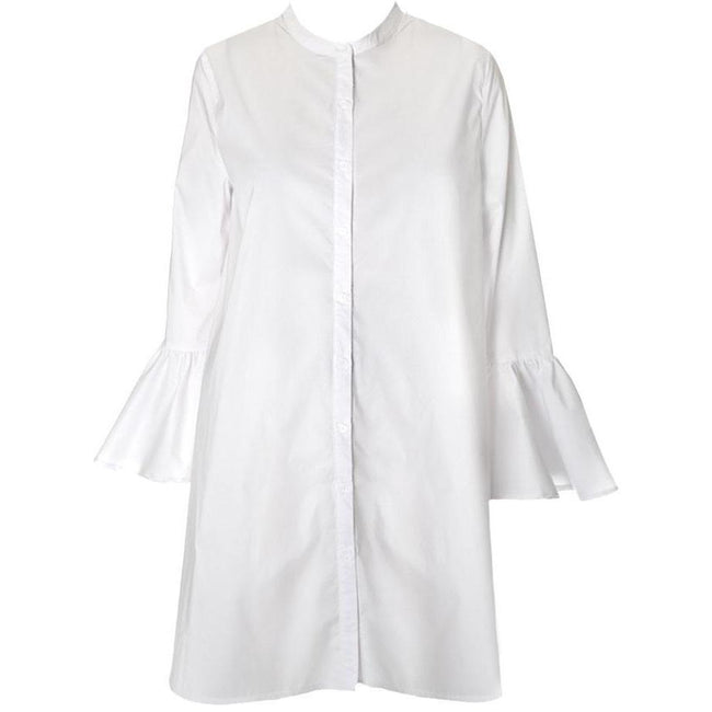 Posh Shoppe: Plus Size Bell Sleeve Cotton Shirt Dress Dress