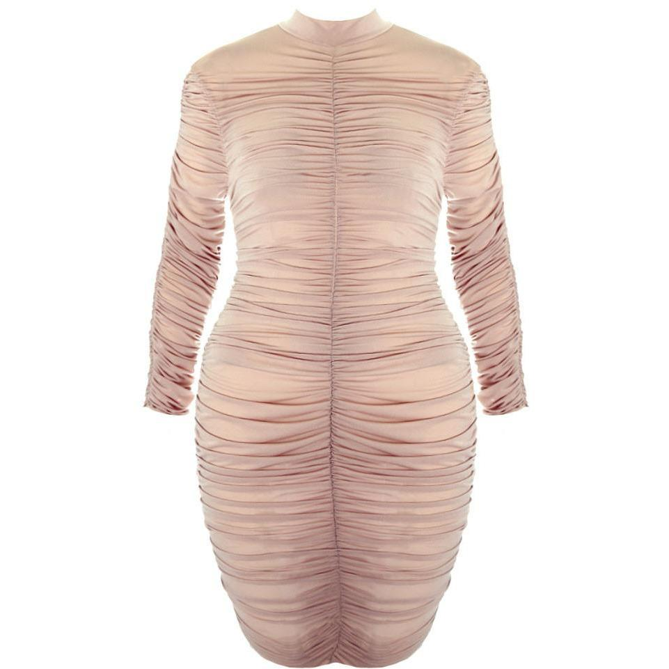 Posh Shoppe: Plus Size Sheer Shirred Mesh Bodycon Mini Dress, Nude Dress