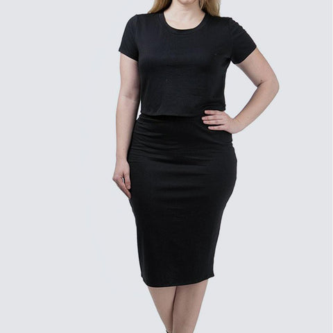 Plus Size Lace Up Terry Tee and Skirt Set, Black