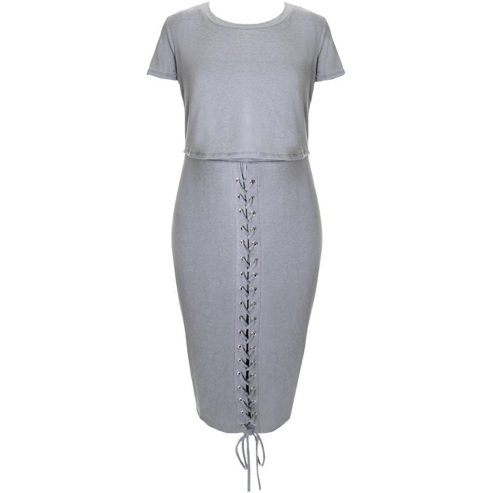 Plus Size Lace Up Terry Tee and Skirt Set, Powder
