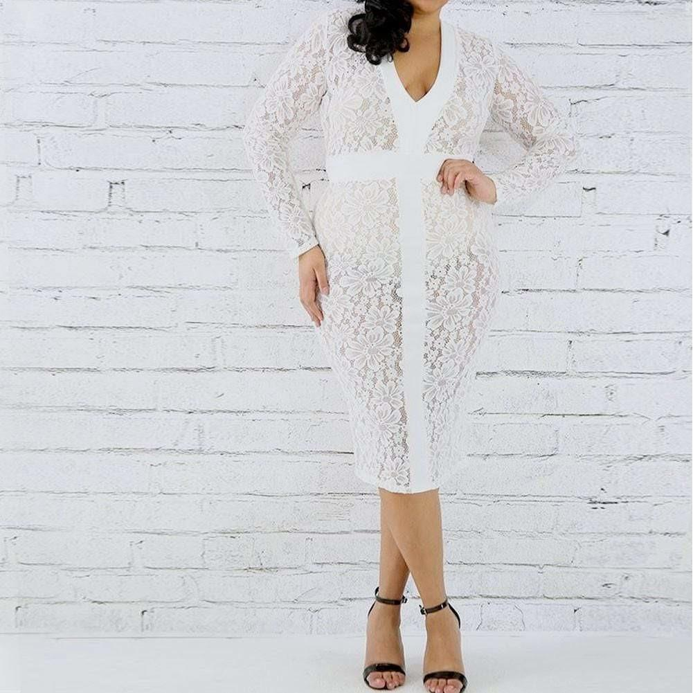 Plus Size Lace Midi Dress, Ivory