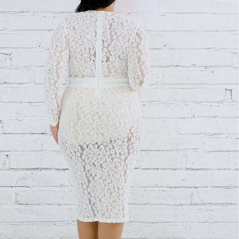 Posh Shoppe: Plus Size Lace Midi Dress, Ivory Dress