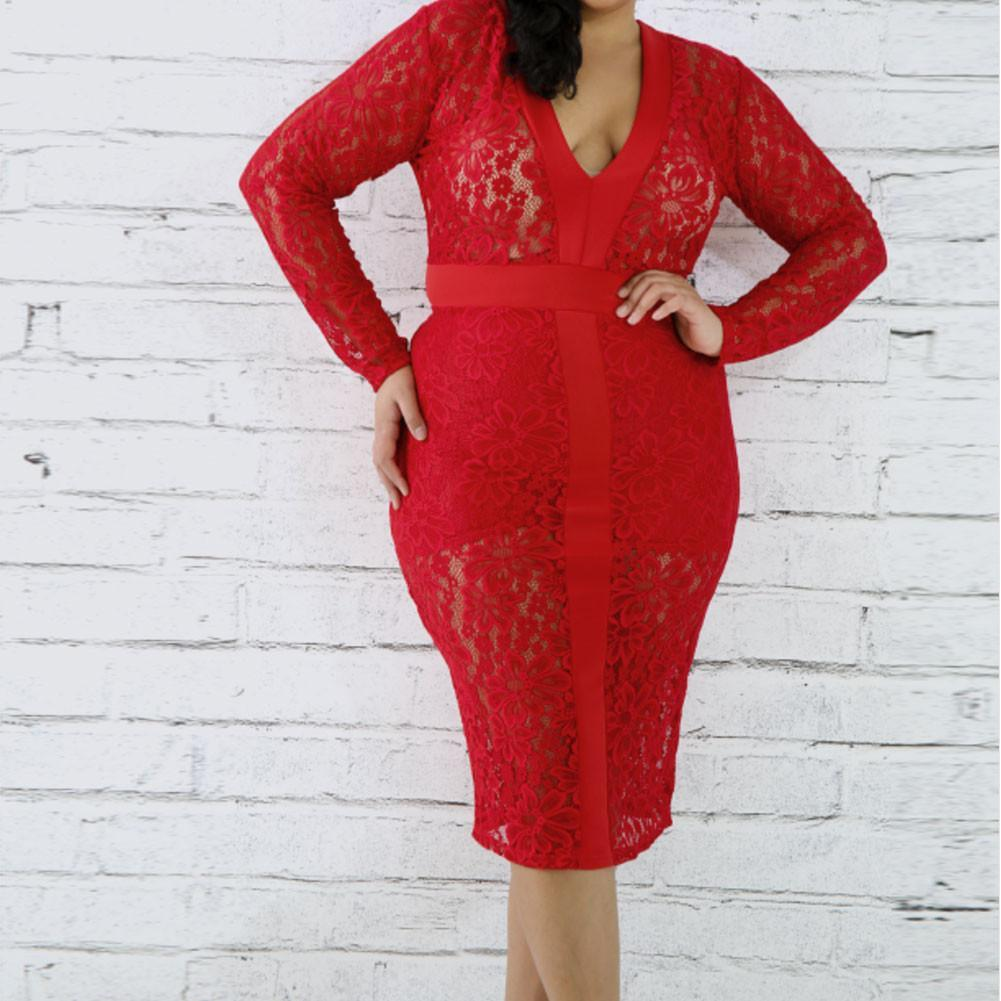Posh Shoppe: Plus Size Lace Midi Dress, Vibrant Red Dress