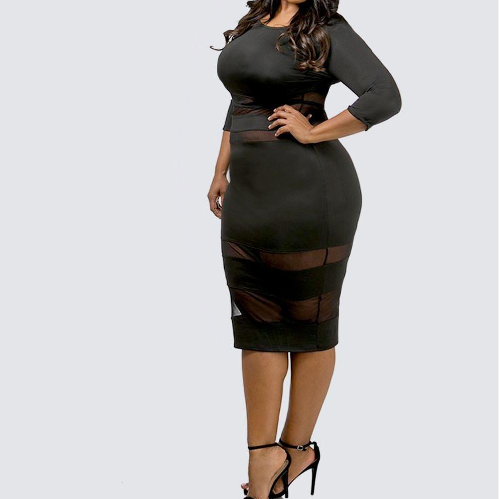 Posh Shoppe: Plus Size Mesh Insert Midi Dress Dress
