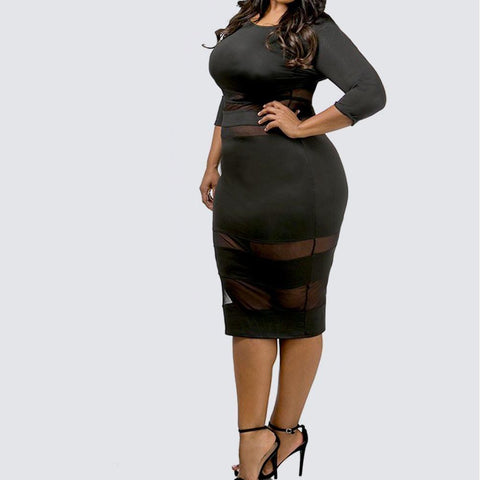 Plus Size Mesh Insert Midi Dress