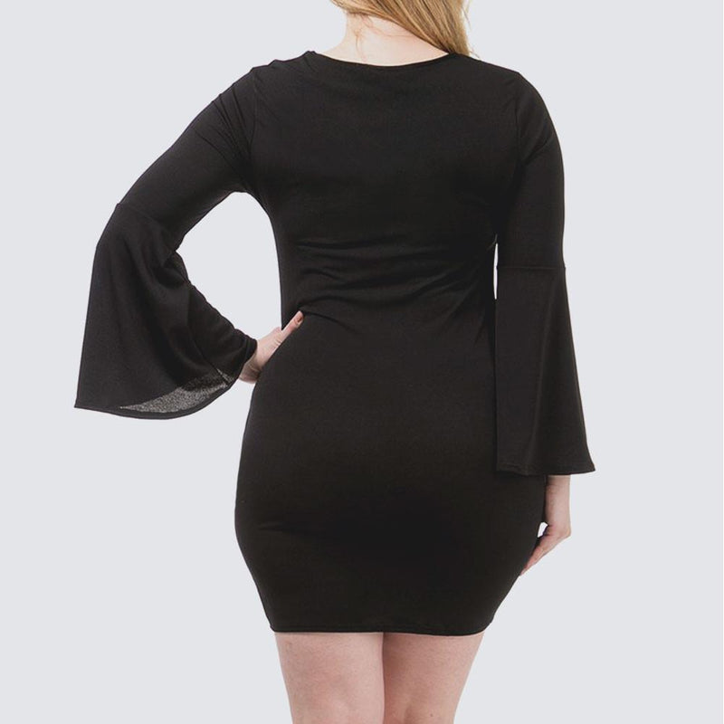 Posh Shoppe: Plus Size Bell Sleeve Cross Neck Mini, Black Dress