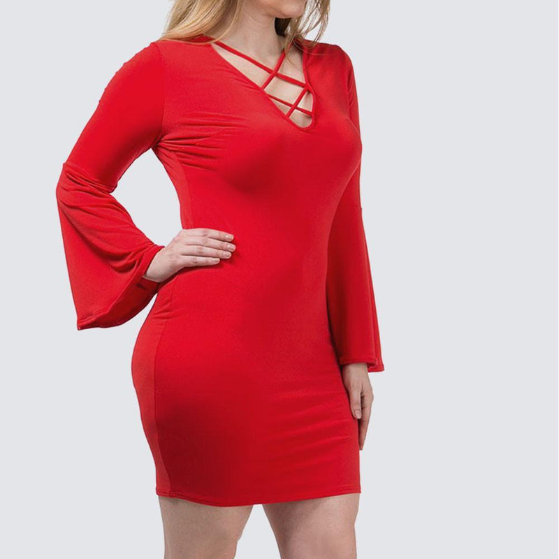 Posh Shoppe: Plus Size Bell Sleeve Cross Neck Mini, Red Dress
